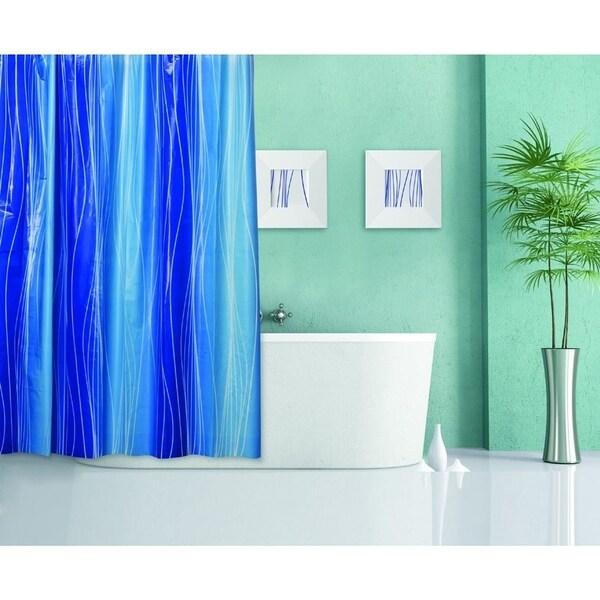 Solid Blue Pattern Plastic 13-piece Shower Curtain Set