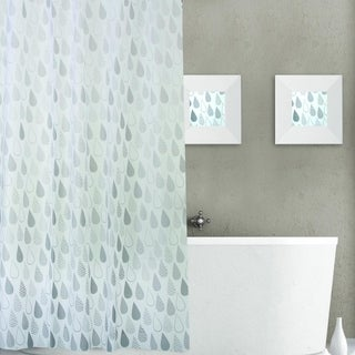 Dainty Home Raindrops Plastic Shower Curtain 13-piece Set
