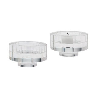 Dimond Home Small Round Windowpane Crystal Candleholders (Set of 2)