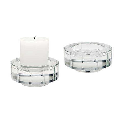 Dimond Home Large Round Windowpane Crystal Candleholders (Set of 2)