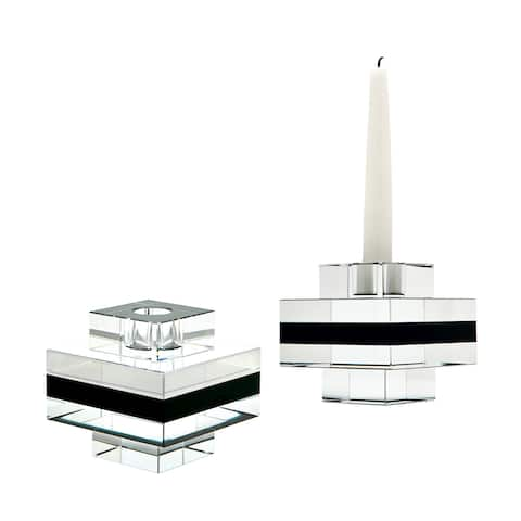 Dimond Home Square Tuxedo Crystal Pedestal Candleholders (Set of 2)