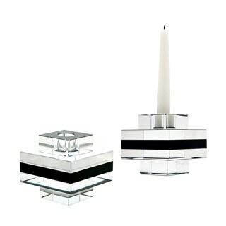 Dimond Home Square Tuxedo Crystal Pedestal Candleholders (Set of 2)