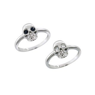 Eternally Haute Sterling Silver Pave Cubic Zirconia Skull Ring