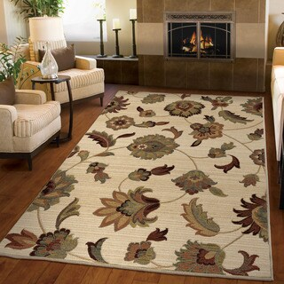 "Versailles Collection Rattan Beige Olefin Area Rug (3'11"" x 5'5"")"