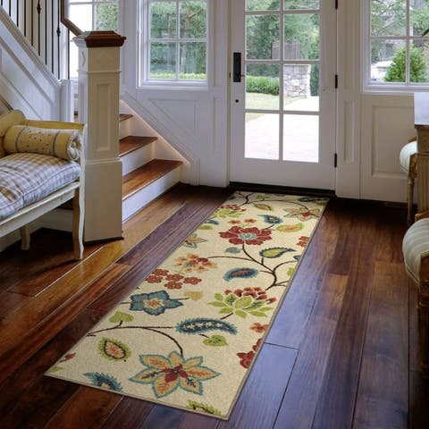 "Carolina Weavers Cocamo Collection Botanic Explosion Ivory Runner Rug - 1'10"" x 7'5"""