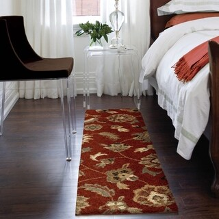Carolina Weavers Grand Comfort Collection Floral Tendon Red Shag Runner (2'3 x 8')