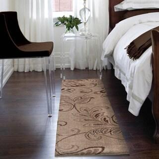 Carolina Weavers Grand Comfort Collection Oatmeal Beige Shag Runner Rug - 2'3 x 8'