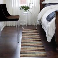 Carolina Weavers Grand Comfort Collection Cool Stripes Multi Shag Runner Rug - 2'3 x 8'