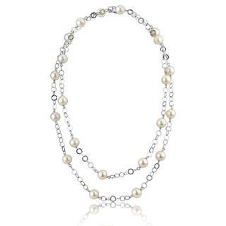 Radiance Pearl White Freshwater Pearl Circle Link Necklace (9mm)