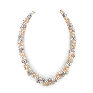 Radiance Pearl Multi-colored Freshwater Pearl Necklace (5mm)