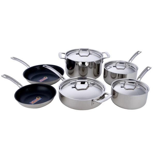 Miustainless steel 10 piece 5 ply la cuisine cookware set for Art and cuisine pans