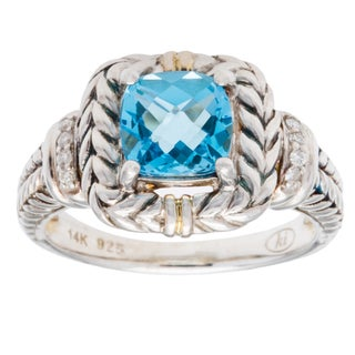 Elan Swiss Blue Diamond Accent Topaz Ring (Size 7)