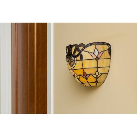 "8""H Stained Glass Allistar Cordless LED Wall Sconce"