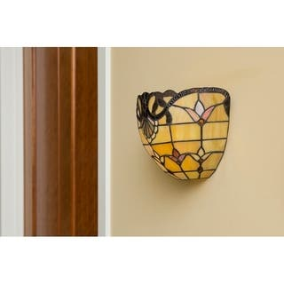 River of Goods 8-inch Tiffany Style Stained Glass Allistar Wireless LED Wall Sconce|https://ak1.ostkcdn.com/images/products/10455738/P17548101.jpg?impolicy=medium