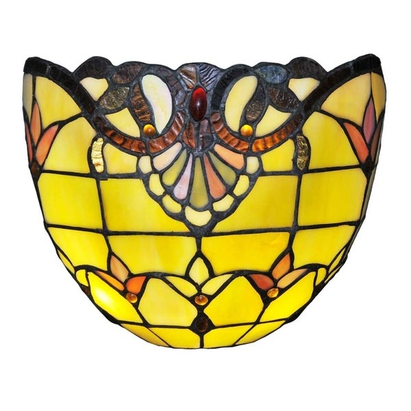 """Wall Sconces Tiffany Stained Glass: Shop 8""""H Stained Glass Allistar Cordless LED Wall Sconce"""