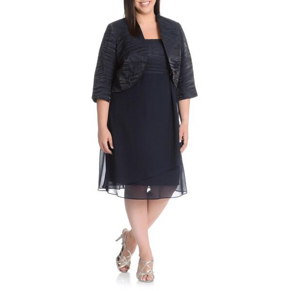 Shop LE BOS Women\'s Plus Size Iridescent Jacket Dress - Free ...