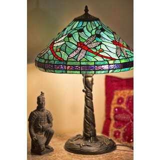 Serena d'Italia Dragonfly Turquoise Blue Glass/Metal Tiffany-style Table Lamp