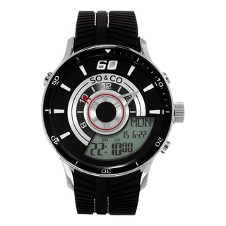 SO&CO New York Men's Monticello Quartz Analog and Digital Black Sport Rubber Strap Watch