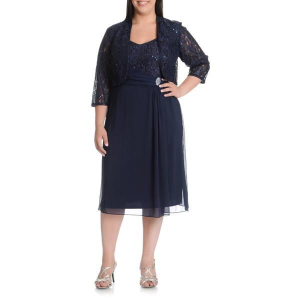 Shop LE BOS Women\'s Plus Size Sequined Lace Jacket Dress ...