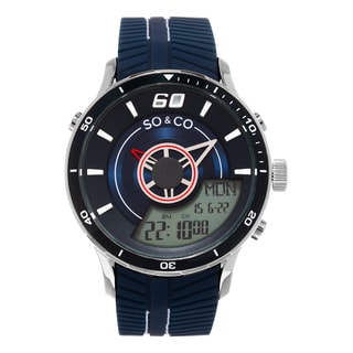 SO&CO New York Men's Monticello Quartz Analog and Digital Blue Sport Rubber Strap Watch