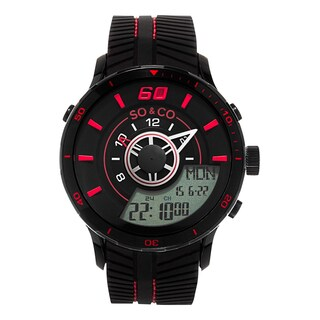 SO&CO New York Men's Monticello Quartz Analog and Digital Black Sport Rubber Strap Watch
