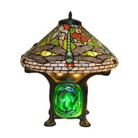 Tiffany Style Green Dragonfly Table Lamp - Turquoise