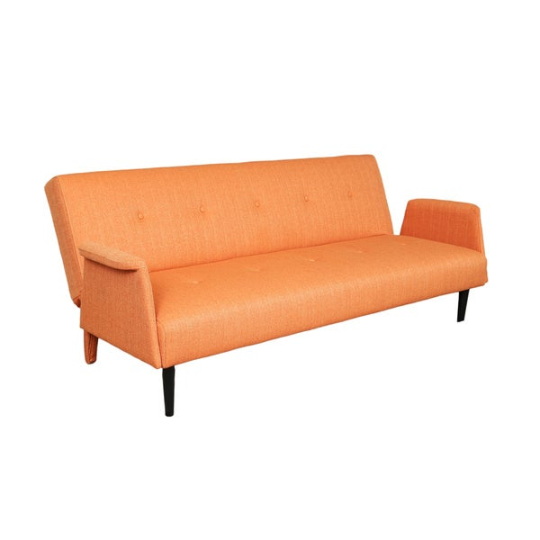 Sitswell naomi orange futon sofa sleeper bed free for Sofa bed 4 6