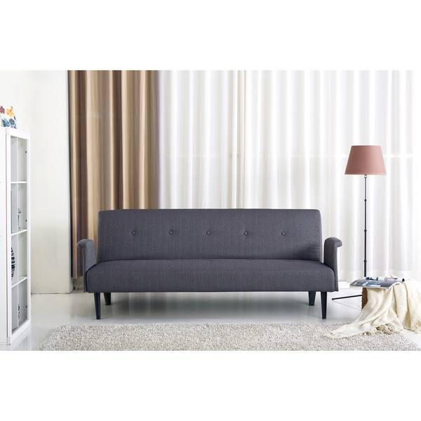 buy popular f6e70 8d4f7 Shop Sitswell Naomi Black and Grey Futon Sofa Sleeper Bed ...