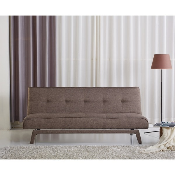 Sitswell kayleigh brown contemporary futon sofa click back for Click back sofa bed