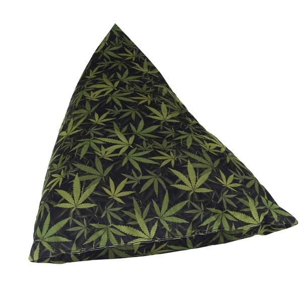 Mary Jane Furniture Big Fatty Black and Green Marijuana Botanical Print Huge Bean Bag