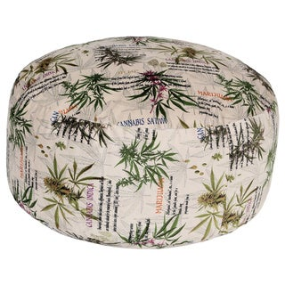 MJFI Just Chillin Beige, Green and Purple Botanical Marijuana Print Round Pouf