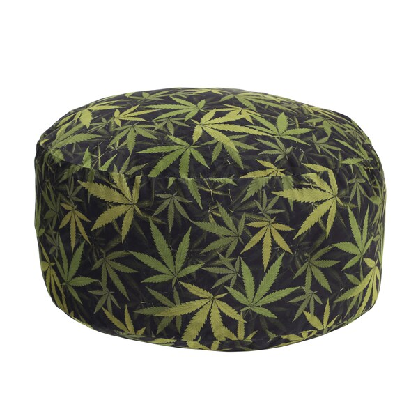Mary Jane Furniture Just Chillin Black and Green Round Marijuana Print Pouf