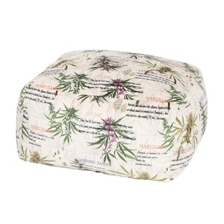 MJFI Not So Square Green, Purple and Beige Marijuana Botanical Print Pouf Ottoman