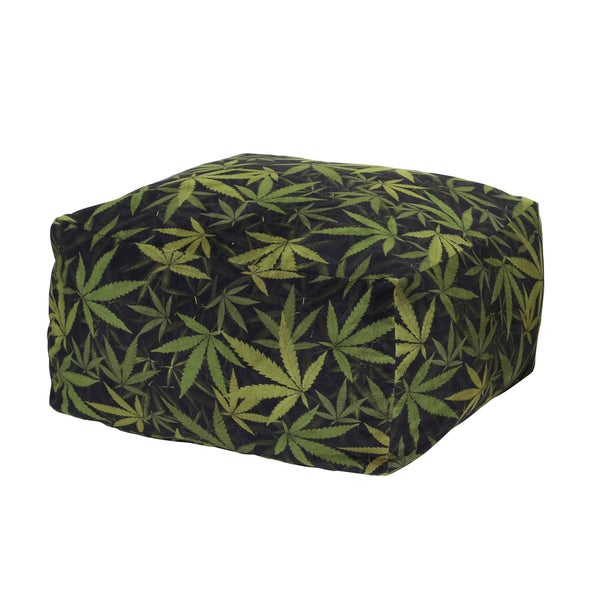MJFI Not So Square Black and Green Marijuana Botanical Pouf Ottoman