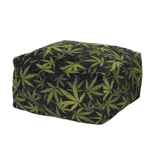 MJFI Not So Square Black and Green Marijuana Botanical Pouf Ottoman
