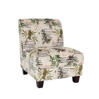 MJFI Kush Beige Green and Purple Marijuana Botanical Print Armless Chair