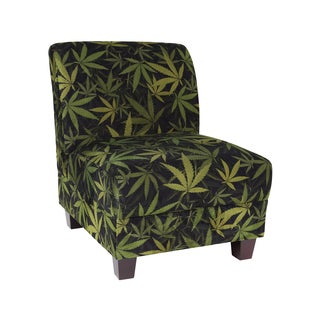 MJFI Kush Black and Green Botanical Marijuana Print Armless Chair