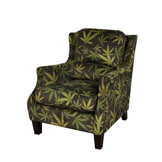 Mary Jane Furniture Smoking Black and Green Botanical Accent Chair with Marijuana Leaf Print