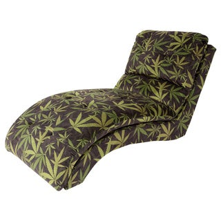 MJFI Puff The Magic Chaise Black and Green Botanical Marijuana Print Lounge Chair