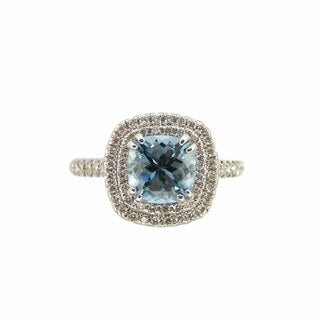 Kabella 18k White Gold Aquamarine 2/5ct TDW Diamond Double-row Halo Ring (H-I, I1-I2) (Size 6.5)