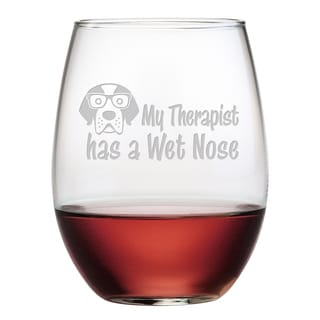 'My Therapist Has a Wet Nose' Stemless Wine Glass (Set of 4)