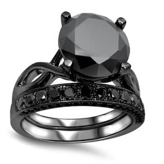 noori 14k black plated 4 35 ct tdw black diamond ring set - Black Wedding Ring Set