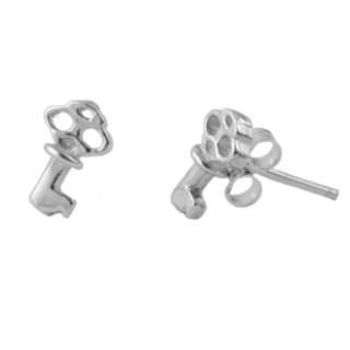 Sterling Silver Key Post Earrings