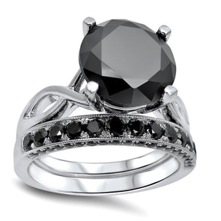 Noori 14k White Gold 4 3/5ct TDW Certified Black Diamond Ring Set
