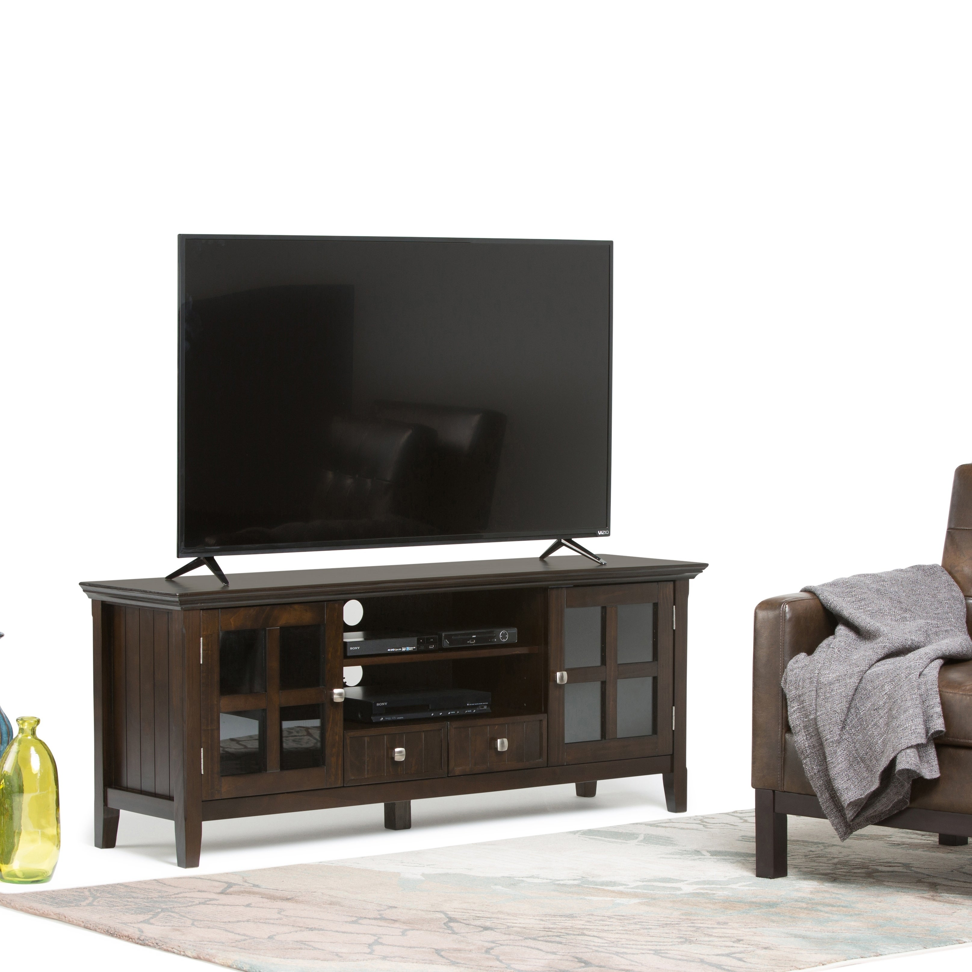 timeless design 88b7c ff92a WYNDENHALL Normandy Solid Wood 60 inch Wide Rustic TV Media Stand in  Tobacco Brown For TVs up to 65 inches