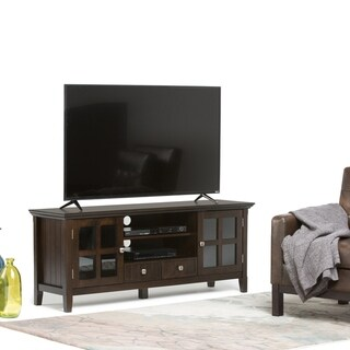 WYNDENHALL Normandy Solid Wood 60 inch Wide Rustic TV Media Stand in Tobacco Brown For TVs up to 65 inches