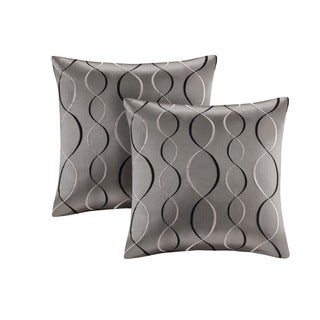 Madison Park Marcel Ogee Embroidered Taffeta 20-inch Square Pillow (Set of 2)