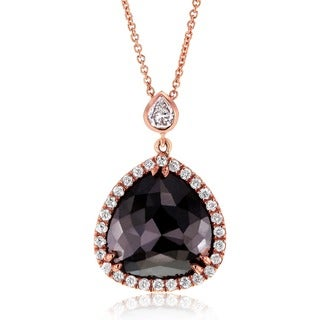Annello by Kobelli 14k Rose Gold 5ct TDW Black and White Diamond Teardrop Halo Necklace