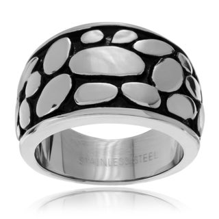 Journee Collection Stainless Steel Bali Pebble Cigar Band Ring