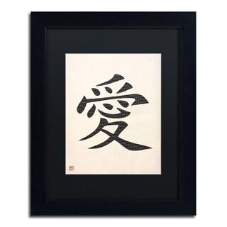 'Love - Vertical White' Black Matte, Black Framed Wall Art